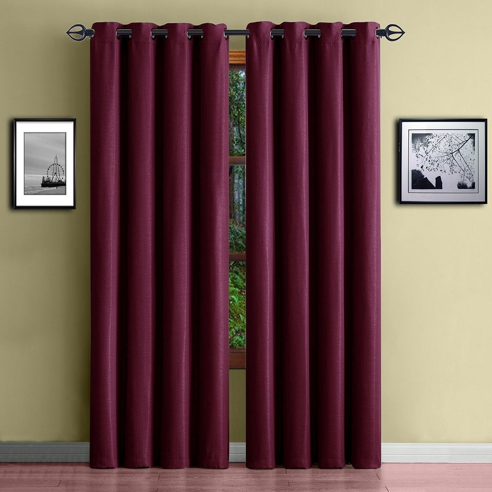 Warm Home Designs Energy Efficient Thermal Burgundy Blackout Curtains