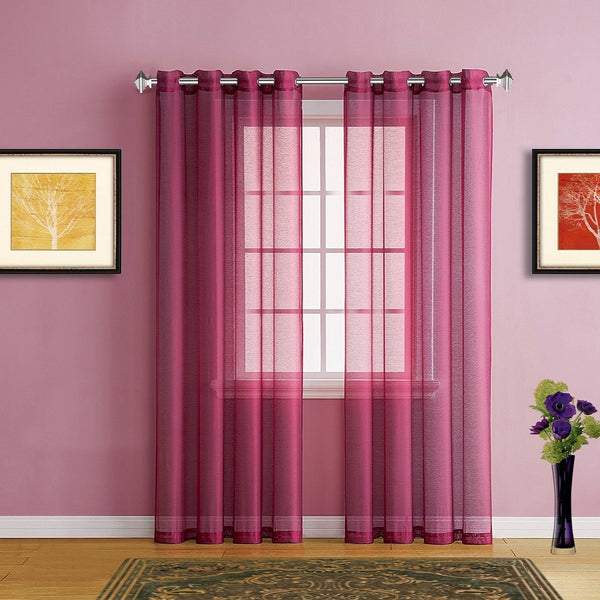 Warm Home Designs Faux Linen Red Burgundy Sheer Curtains with Grommets