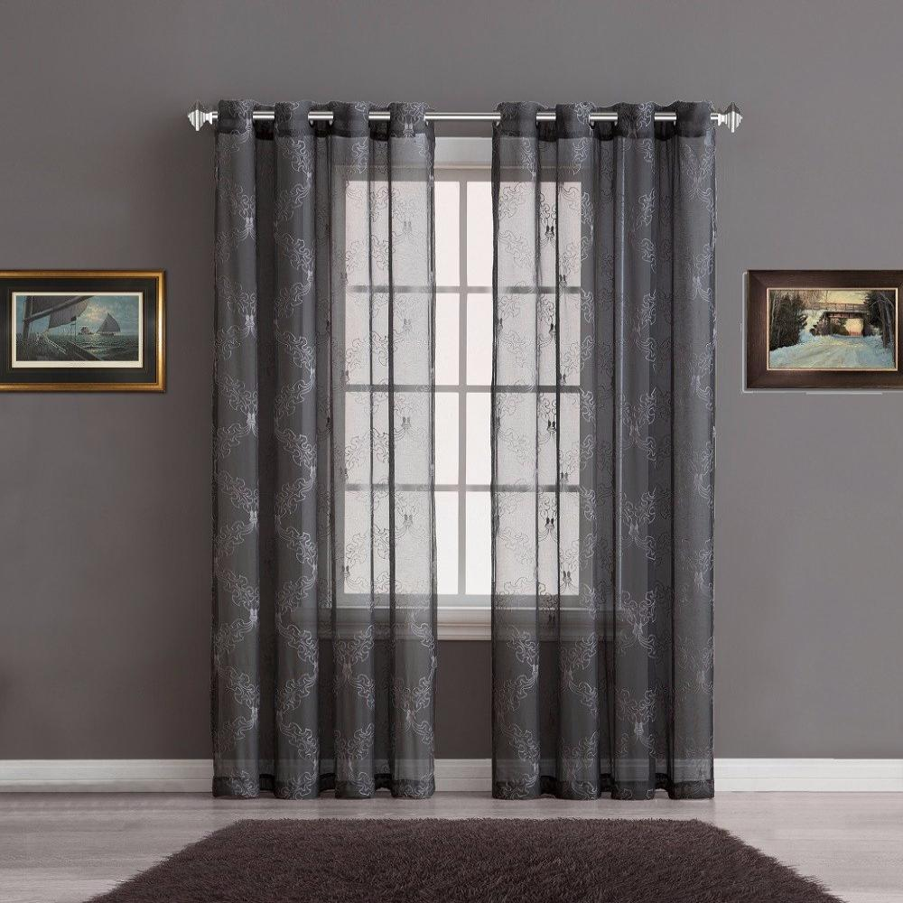 Warm home designs sheer charcoal curtain panels with for Household design curtain road