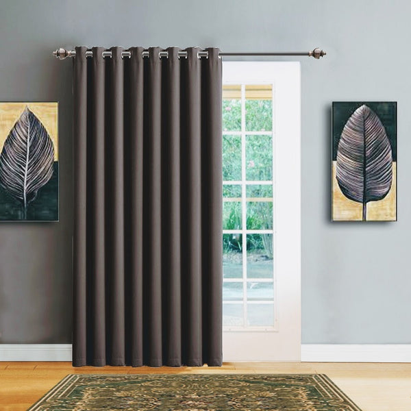"Warm Home Designs 102"" Wide Charcoal Room Dividers Patio Door Curtains"