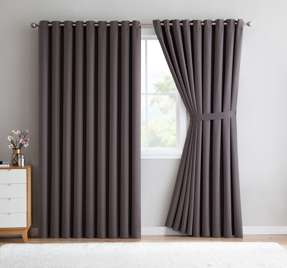 Warm Home Designs Extra-Wide Charcoal Patio Door Curtains & Wall-to-Wall Room Dividers