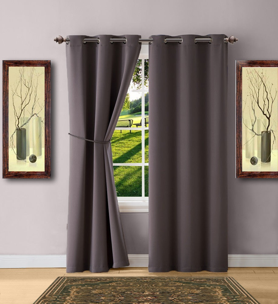 Warm Home Designs Charcoal Blackout Curtain Panels, Pairs & Valances with Matching Tie-Backs in 7 Sizes