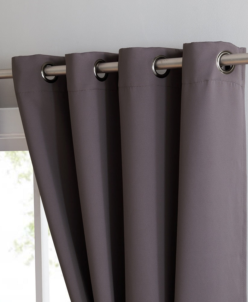 ... Charcoal Blackout Curtains U0026 Valance Scarves With Matching Tie Backs ...