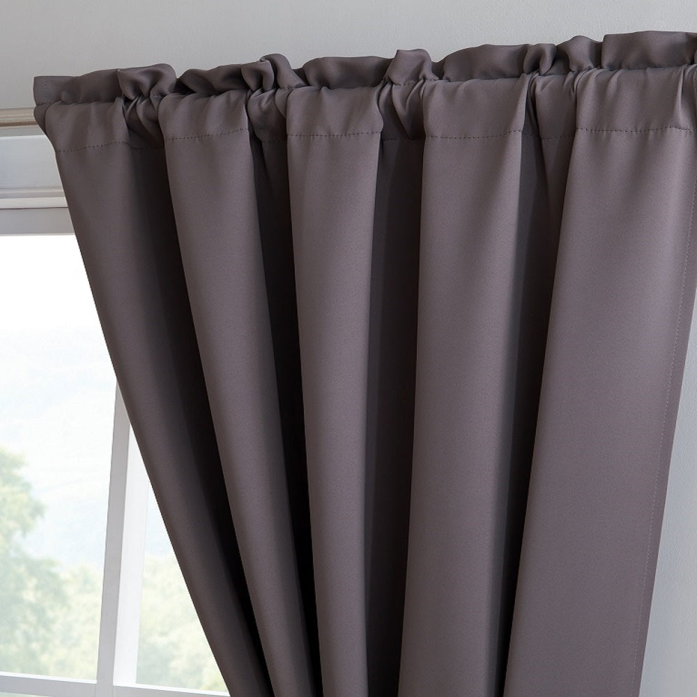 Warm Home Designs Pair of 2 Charcoal Room Darkening Curtains with 2 Tie-Backs in 63, 84, 96 & 108 Inch Length