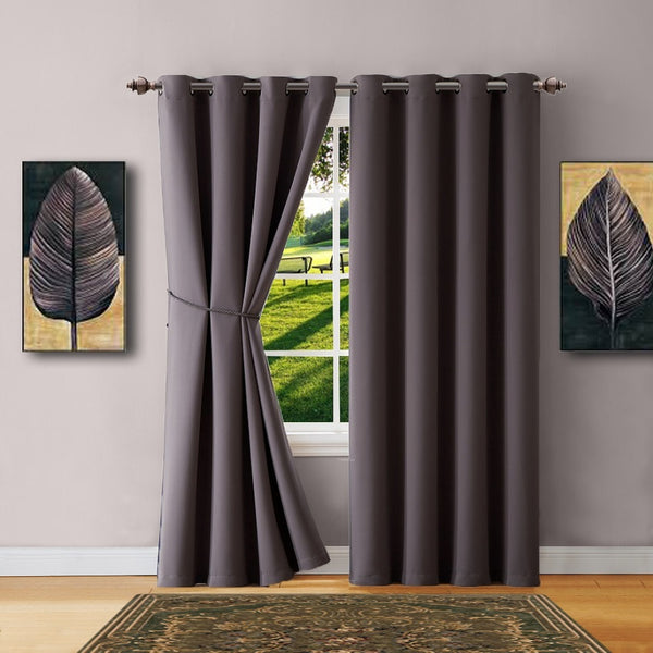 Warm Home Designs Charcoal Blackout Curtains, Valance Scarf, Tie-Backs