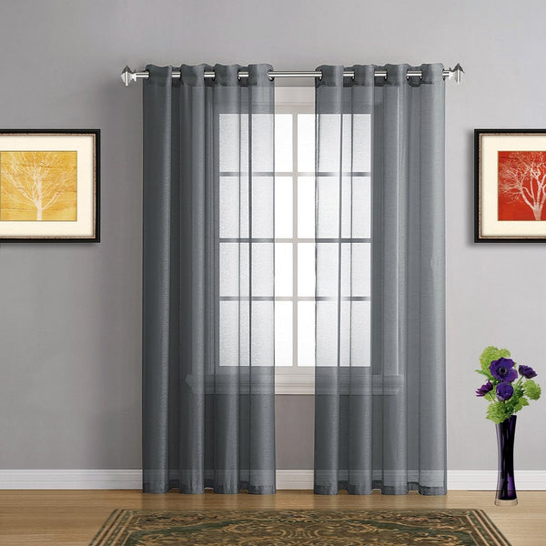 Pair Of Charcoal Grey Faux Linen Sheer Window Curtains W
