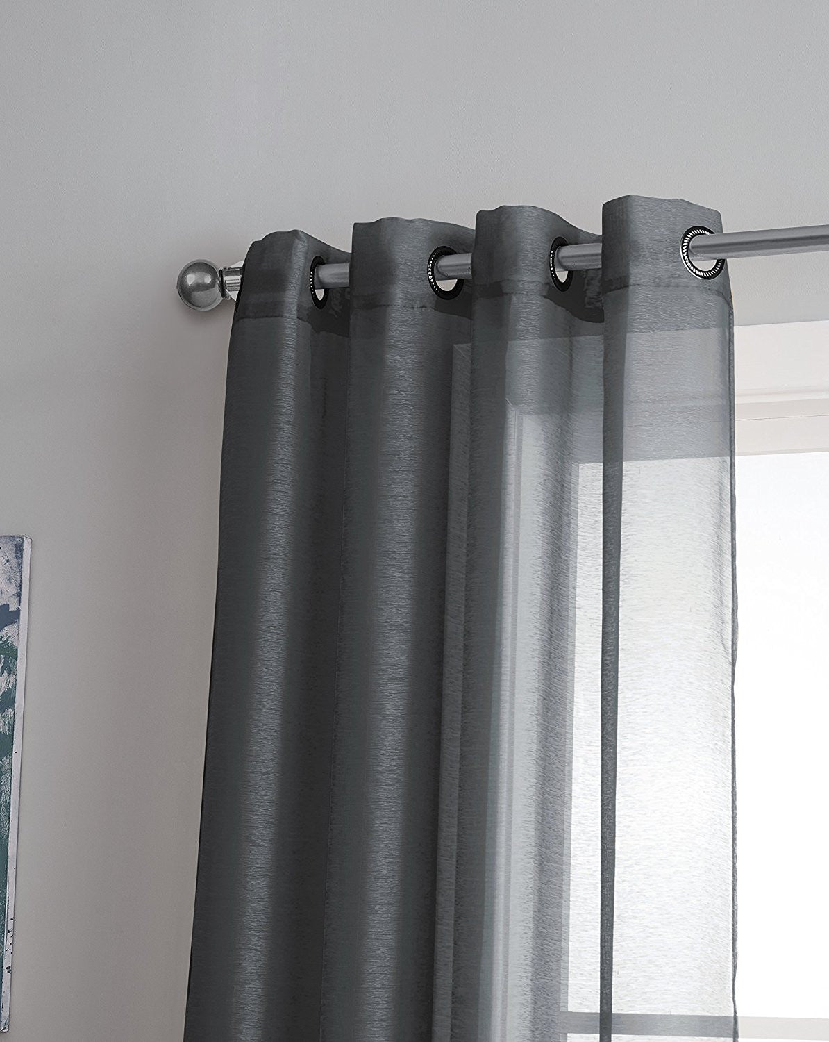Warm Home Designs Gray Charcoal Sheer Curtains Window Scarf Valances Warmhomedesigns Com