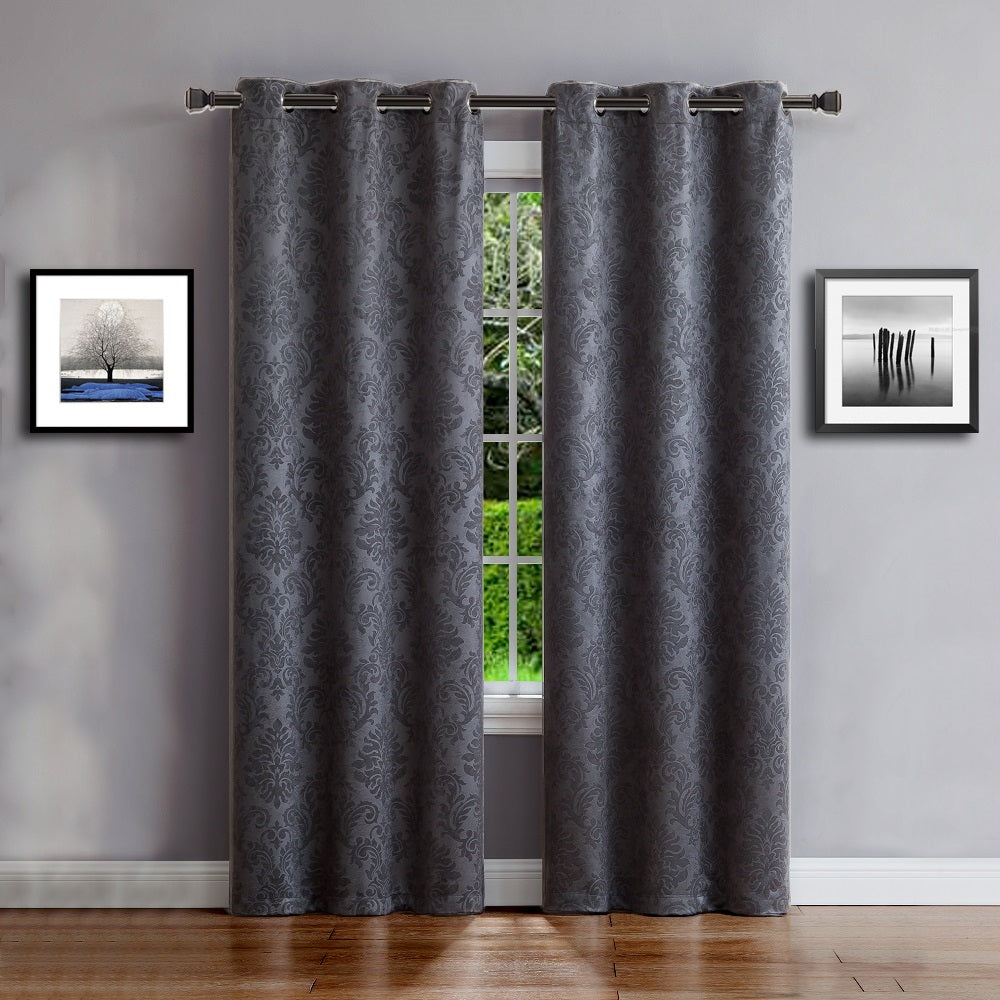 Warm Home Designs Embossed Textured Blackout Energy Efficient Charcoal Curtains in 9 Sizes