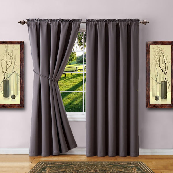 Warm Home Designs Pair of Charcoal Room Darkening Curtains & Tie-Backs