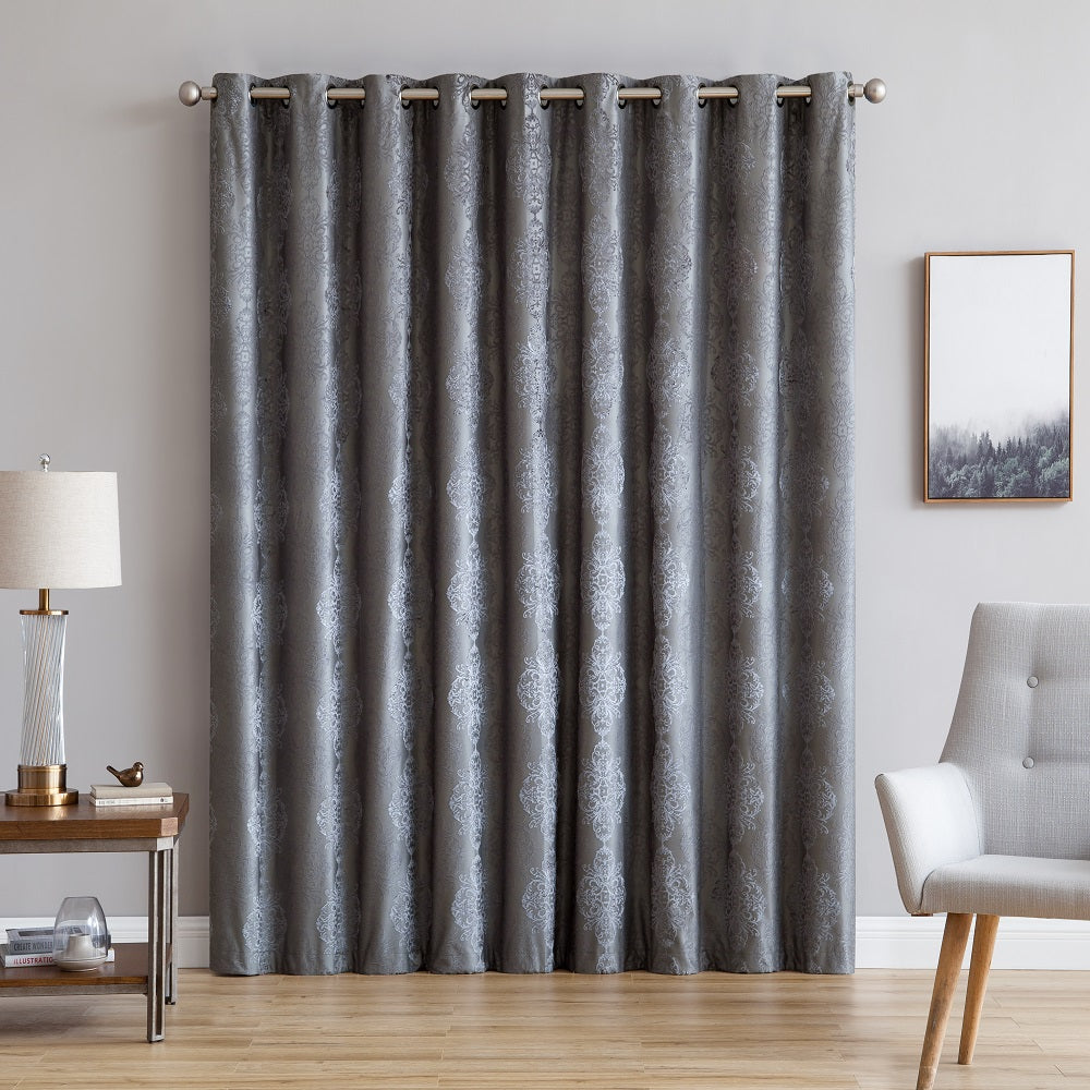 "Warm Home Designs Ultra Premium 110"" Charcoal Color 100% Blackout Patio Door Curtains"
