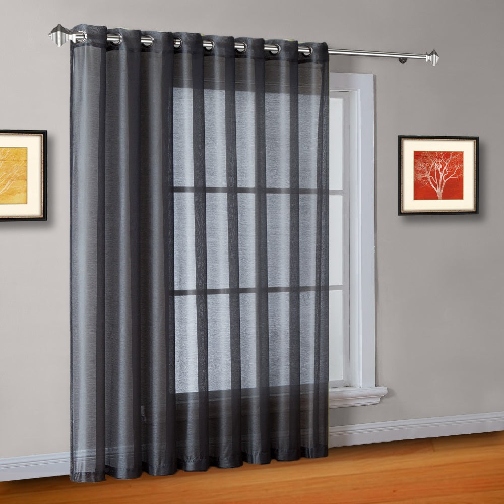 "102"" Wide Sheer Charcoal Sliding Patio Door Curtains, Room Dividers"