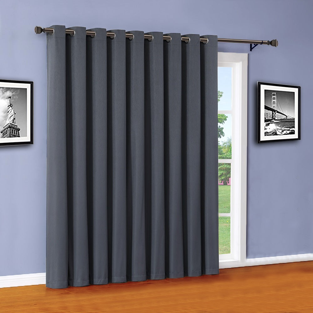 Warm Home Designs 100% Blackout Charcoal Patio Door Curtains