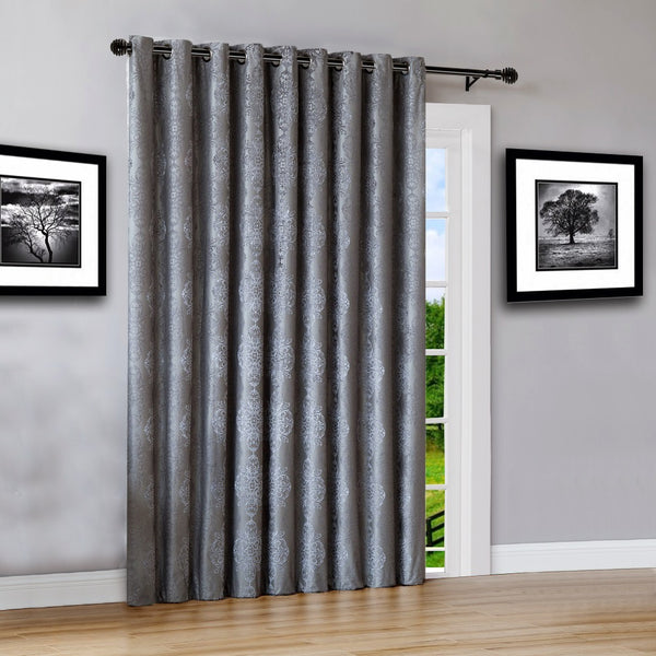 "Warm Home Designs 110"" Wide Charcoal 100% Blackout Patio Door Curtains"