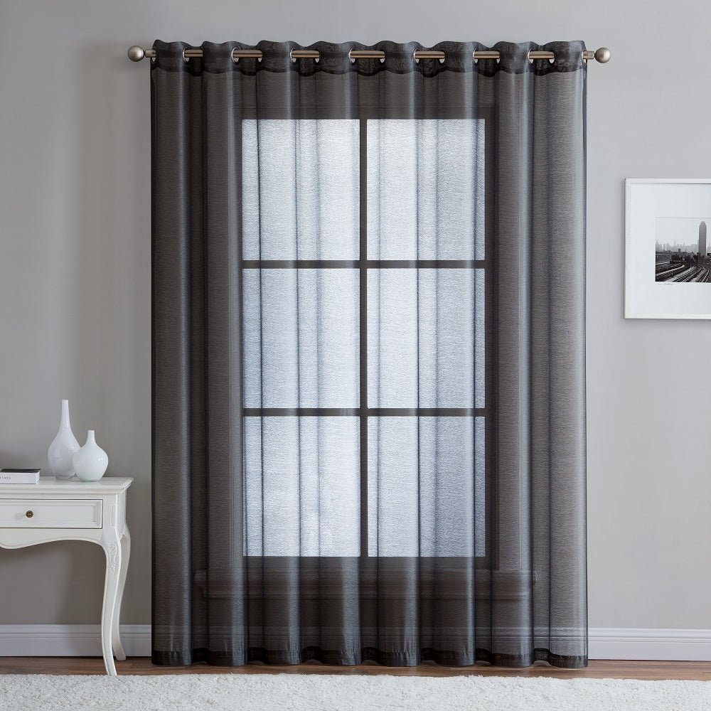 "Warm Home Designs 1 Panel of 102"" Extra Wide Linen Textured Sheer Charcoal Patio Door Curtains"