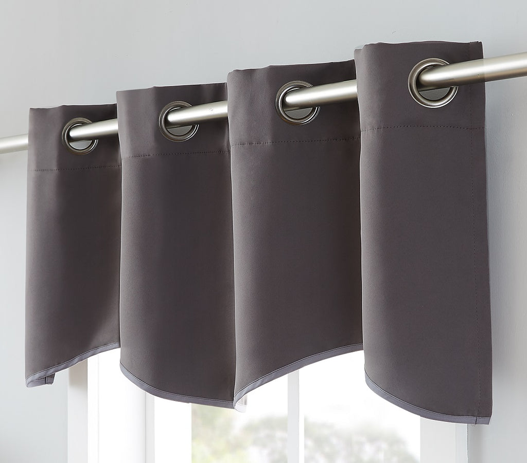 Warm Home Designs Charcoal Blackout Curtain Panels, Pairs & Valances with Tie-Backs in 7 Sizes