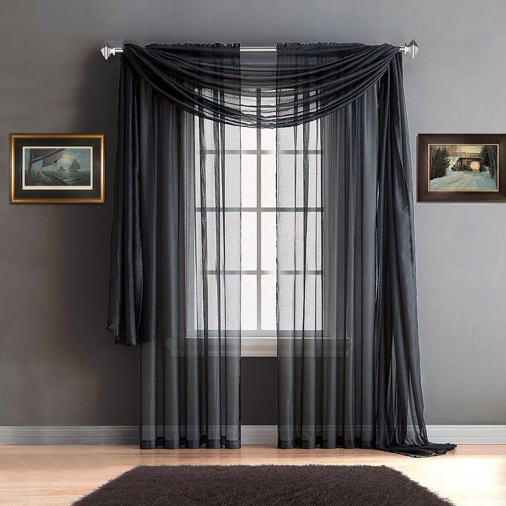 Warm Home Designs Charcoal Window Scarves & Sheer Charcoal Curtains