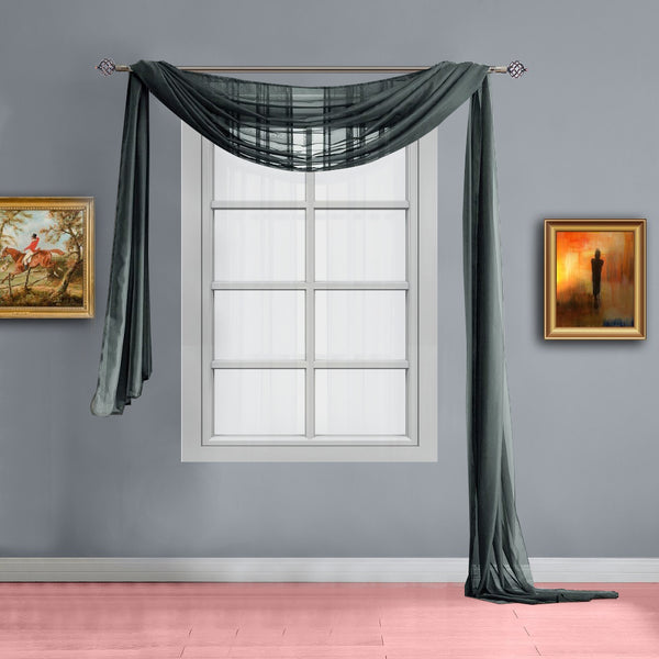 Warm Home Designs Pair of Olive Charcoal Sheer Curtains or Extra Long Window Scarf