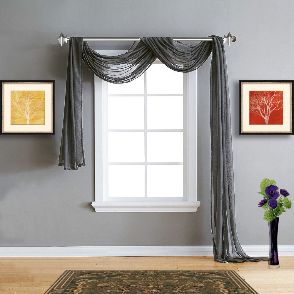 Warm Home Designs Sheer Charcoal Window Scarf