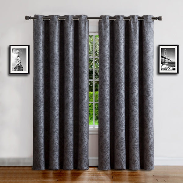 Warm Home Designs Embossed Textured Energy Efficient Charcoal Curtains