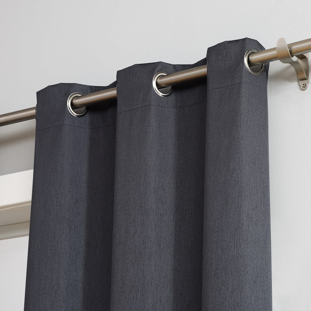 Warm Home Designs 100% Blackout Insulated Thermal Bedroom Curtains In Charcoal Color