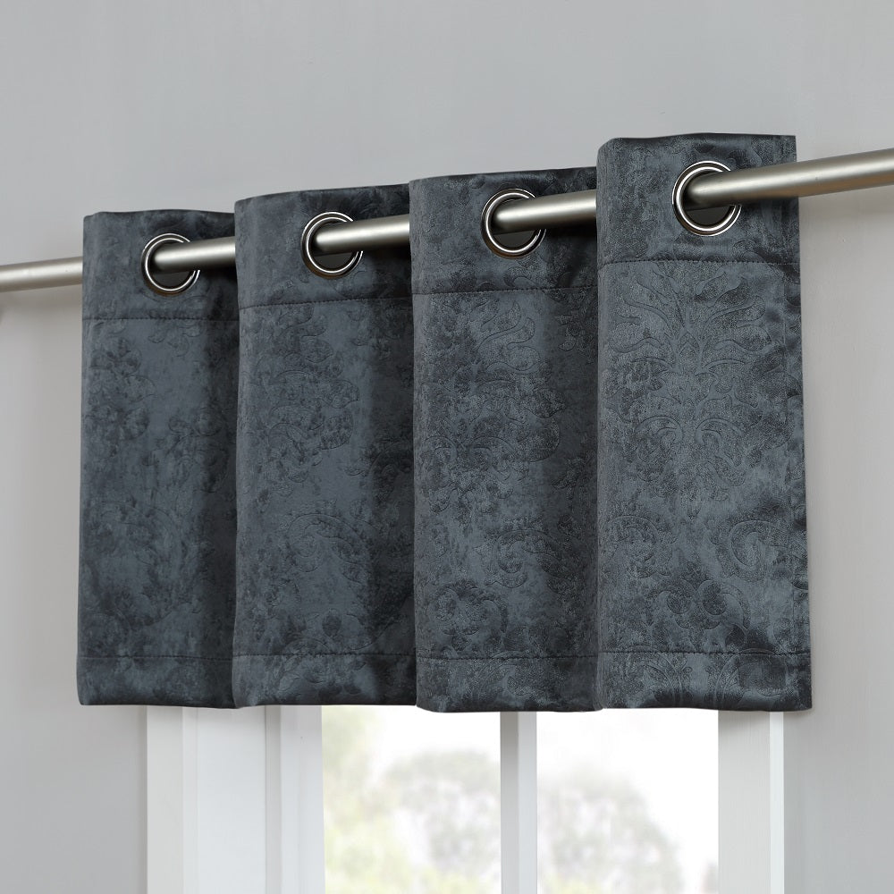 Warm Home Designs Embossed Textured Blackout Energy Efficient Charcoal Curtains in 12 Sizes