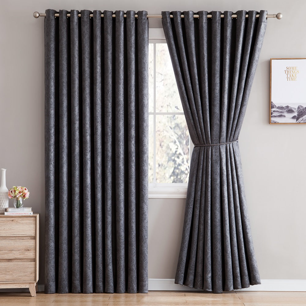 Love the Look and Feel of Your Curtains - Save on Warm Home Designs Embossed Textured Insulated Energy Efficient Black Charcoal Blackout Curtains in 9 Sizes.