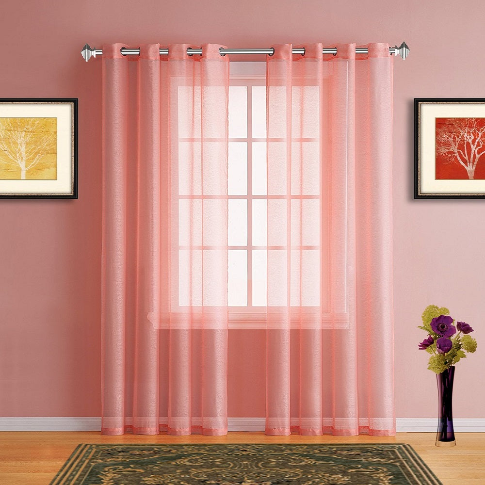 Warm Home Designs Faux Linen Pink Coral Sheer Curtains With Grommets ...