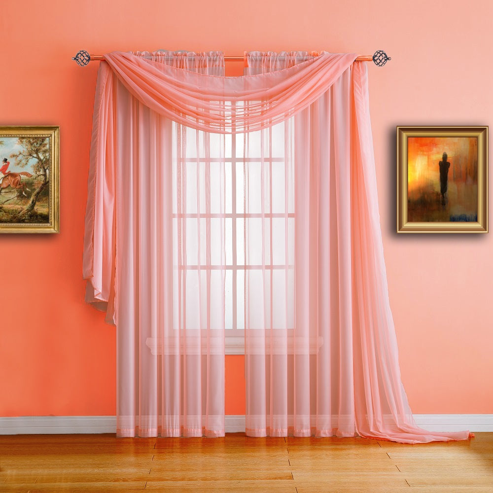 Warm Home Designs Coral Window Scarf Valance, Sheer Coral Curtains