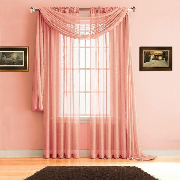 Warm Home Designs Pink Coral Window Scarves & Sheer Coral Curtains