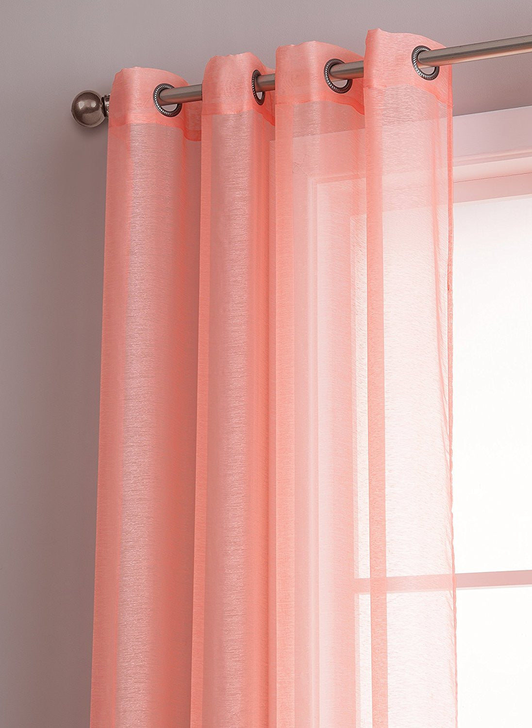 ... Warm Home Designs 1 Pair Of Coral Pink Voile Sheer Window Curtains With  Grommet Top ...