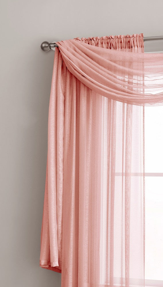 Warm Home Designs Premium Sheer Coral Pink Window Scarves or Rod Pocket Sheer Coral Curtains