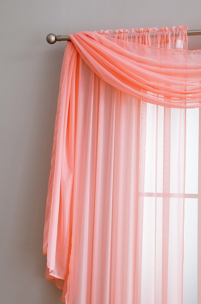 ... Warm Home Designs Pair Of Coral Sheer Curtains Or Extra Long Window  Scarf