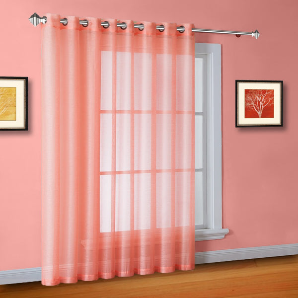 "102"" Wide Sheer Coral Pink Sliding Patio Door Curtains, Room Dividers"