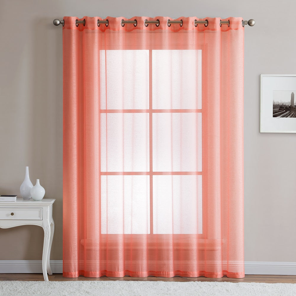 "Warm Home Designs 1 Panel of 102"" Extra Wide Linen Textured Sheer Coral Pink Patio Door Curtains"