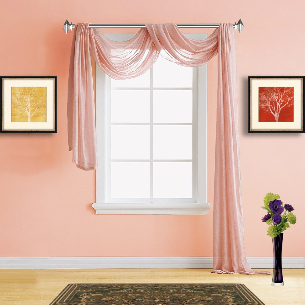 Warm Home Designs Pink Coral Sheer Curtains & Window Scarf Valances ...
