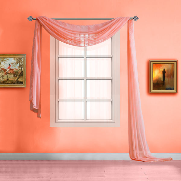 Warm Home Designs Pair of Coral Sheer Curtains or Extra Long Window Scarf