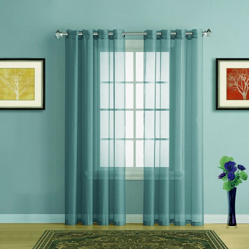 Warm Home Designs Dusty Blue Sheer Curtains Window Scarf Valances