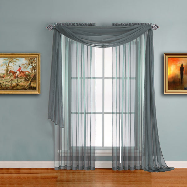 Warm Home Designs Dusty Blue Window Scarf and Sheer Slate Curtains