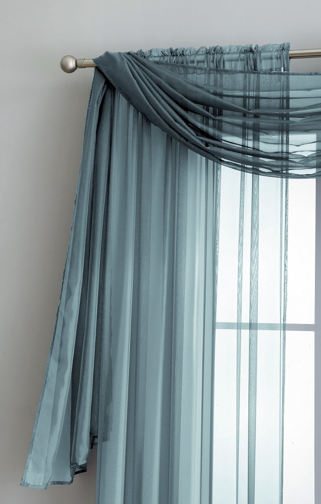Warm Home Designs Pair of Dusty Blue Sheer Curtains or Extra Long Window Scarf