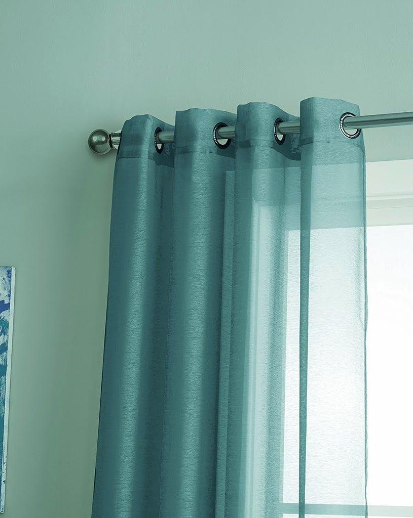 Warm Home Designs 1 Pair of Sea Blue Voile Sheer Window Curtains with Grommet Top