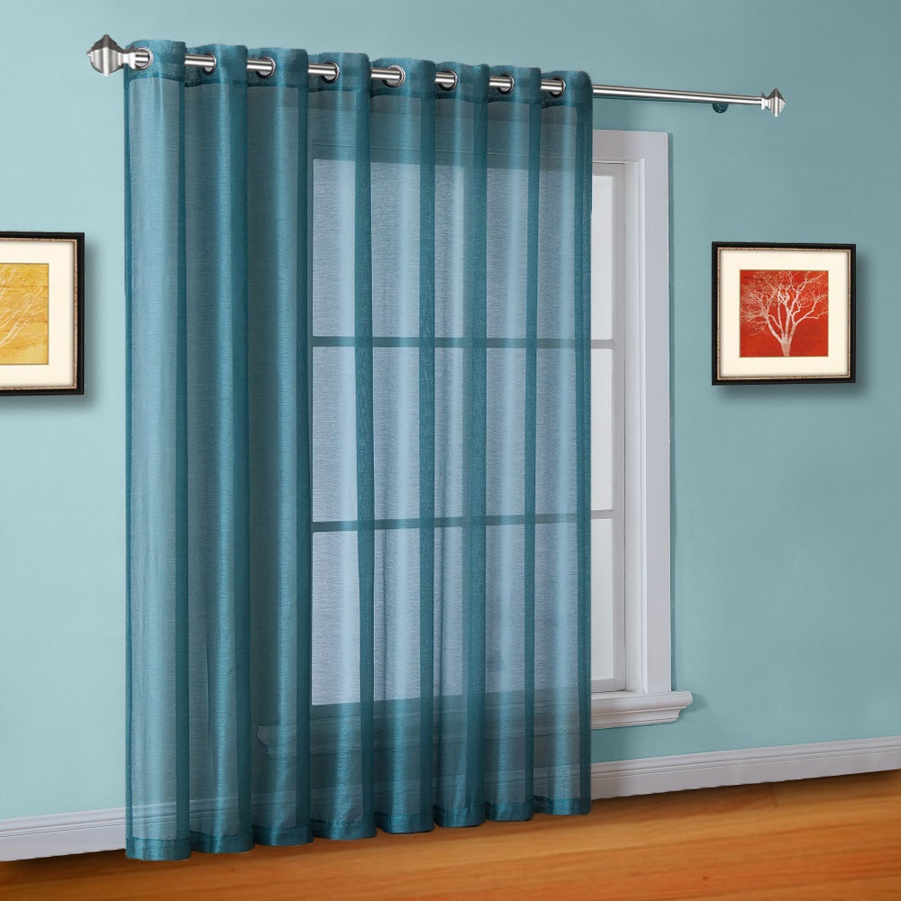 "102"" Wide Sheer Sea Blue Sliding Patio Door Curtains, Room Dividers"