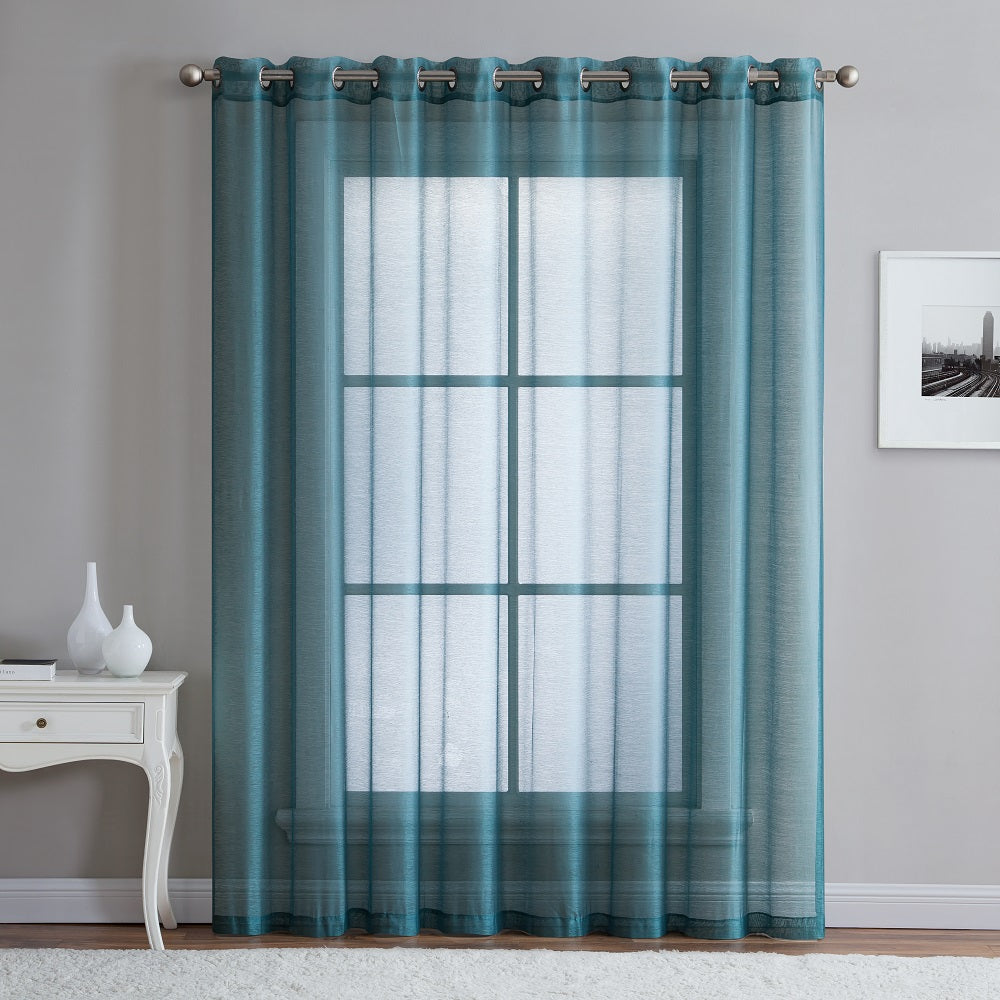 "Warm Home Designs 1 Panel of 102"" Extra Wide Linen Textured Sheer Sea Blue Patio Door Curtains"