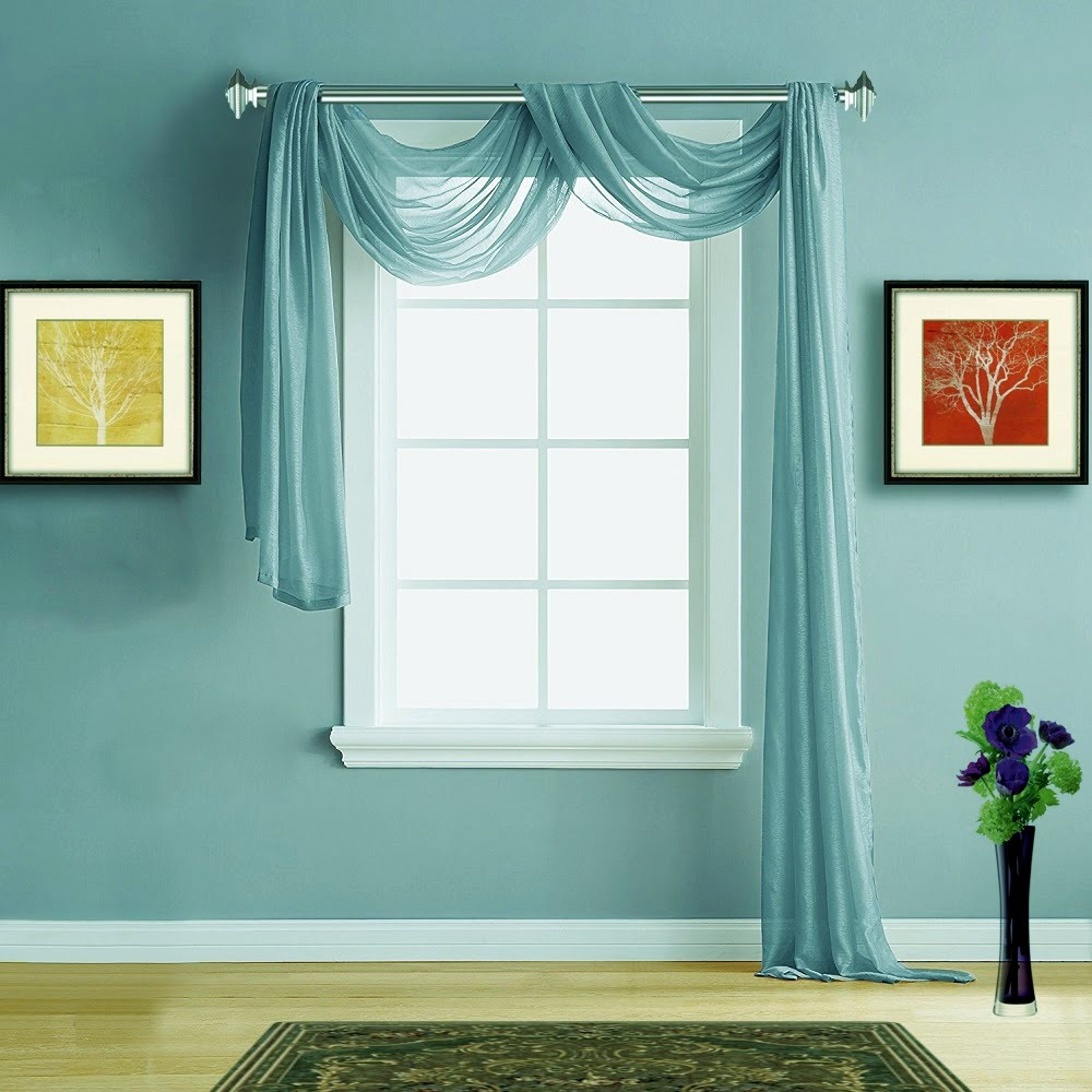Warm Home Designs Sea Blue Sheer Curtains & Window Scarf Valances