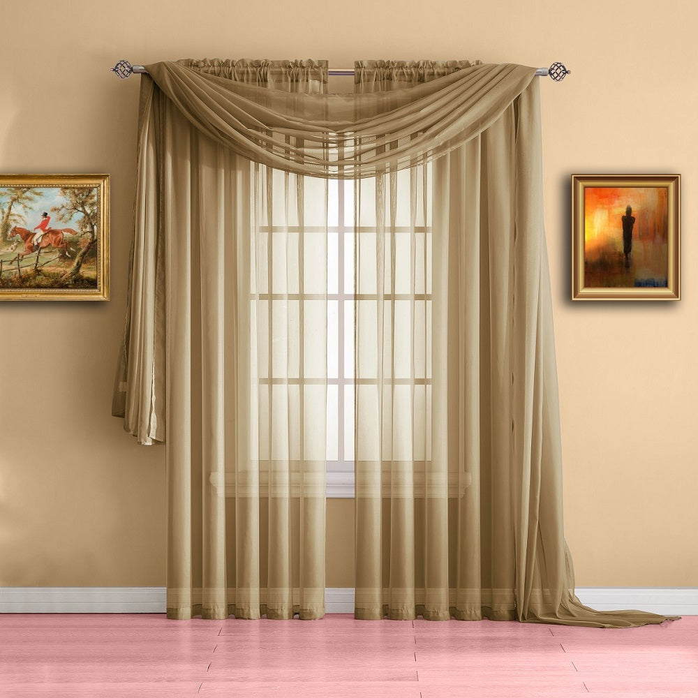 Warm Home Designs Gold Window Scarf Valance Sheer Curtains