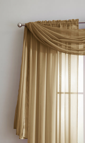 Warm Home Designs Gold Window Scarf Valance Sheer Gold