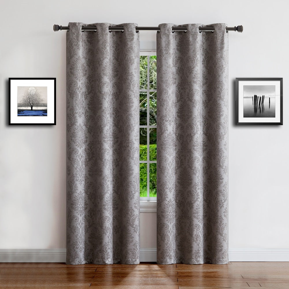 Warm Home Designs Embossed Textured Blackout Energy Efficient Silver Grey Curtains in 9 Sizes