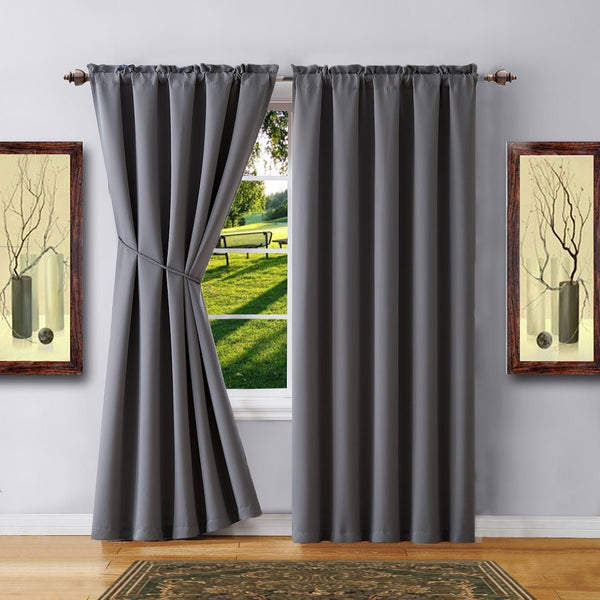 Warm Home Designs Pair of Grey Room Darkening Curtains & Tie-Backs