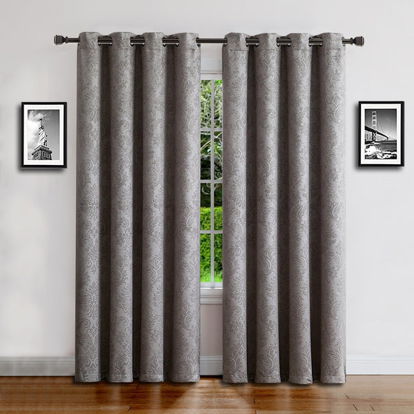 Warm Home Designs Embossed Textured Energy Efficient Grey Curtains