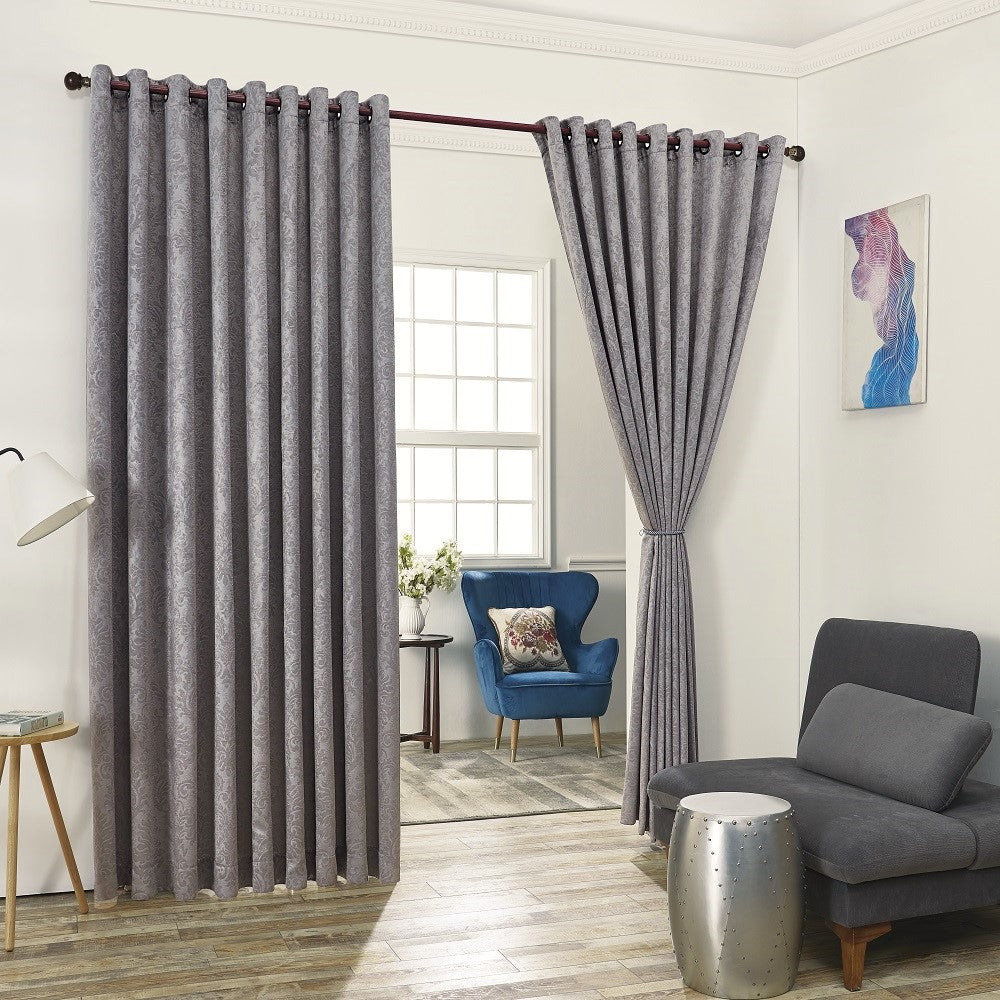 Warm Home Designs Embossed Textured Blackout Energy Efficient Silver Grey Curtains in 12 Sizes