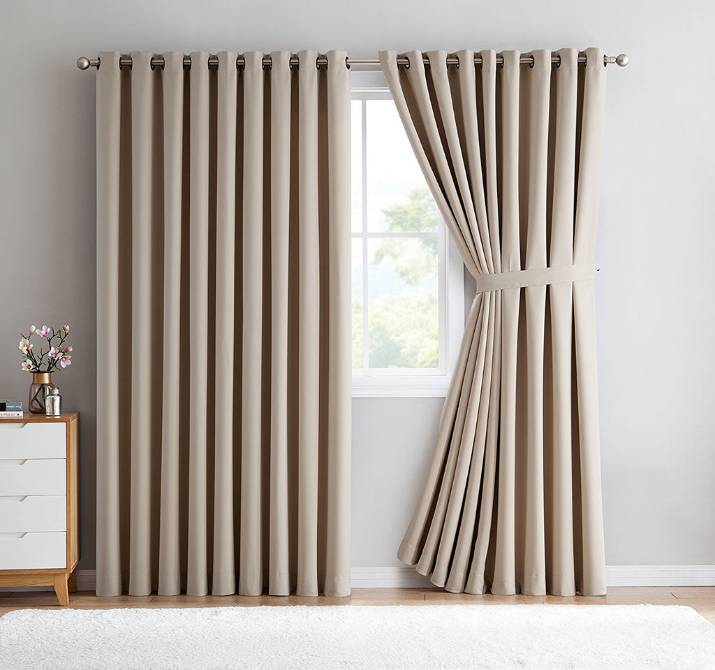 Warm Home Designs Extra-Wide Ivory Patio Door Curtains & Wall-to-Wall Room Dividers